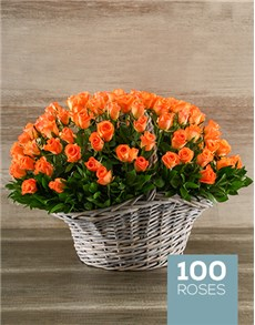 flowers: 100 Vibrant Orange Roses in a Basket!