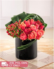 flowers: Roses and Hypericum in a Black Cylinder Vase!