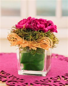 flowers: Carnations in a Petite Glass Vase!