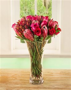 flowers: Red Rose & Protea Medley Vase!