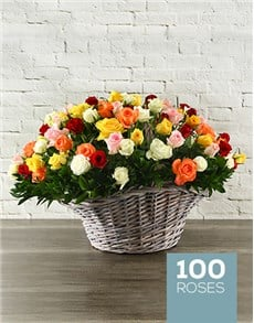 flowers: 100 Mixed Roses In a Basket!