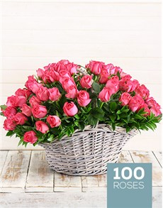 flowers: 100 Cerise Roses in a Basket!