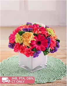 flowers: Gerberas and Carnations in a White Sqaure Vase!