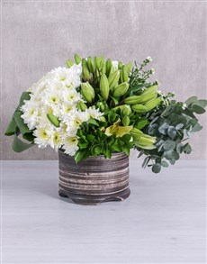 flowers: White Mixed Flower Arrangement!