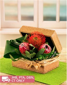 flowers: Proteas and Pin Cushions in a Wooden Box!