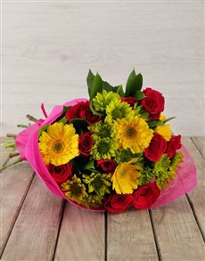 flowers: Mixed Pink & Yellow Flower Bouquet!