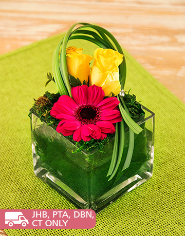 flowers: Joyful Gerbera and Roses in a Square Vase!