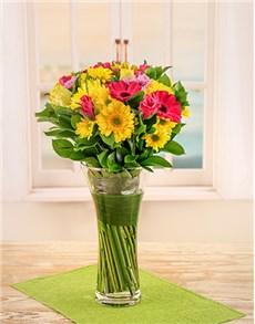 flowers: Gerbera and Roses in Glass Vase!