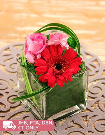flowers: Gerbera and Roses in a Square Vase!