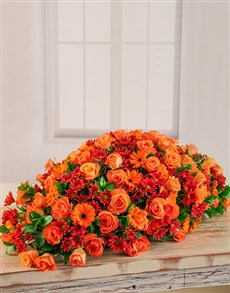 flowers: Orange Roses, Sprays and Gerberas Coffin Display!