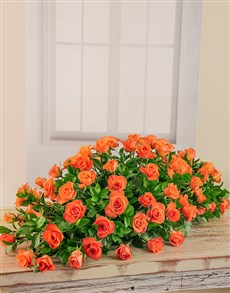 flowers: Orange Rose Coffin Display!