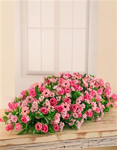 flowers: Pink Roses, Sprays and Gerberas Coffin Display!