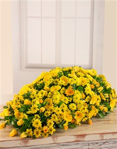 flowers: Yellow Roses, Gerberas and Sprays Coffin Display!
