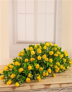 flowers: Yellow Rose Coffin Display!