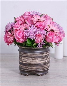flowers: Pretty Pink Sprays, Roses and Gerberas in a Pot!