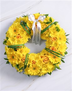 flowers: Blooming Yellow Roses, Gerberas and Sprays Wreath!
