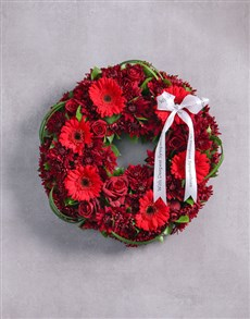 flowers: Red Sprays, Roses and Gerberas Wreath!