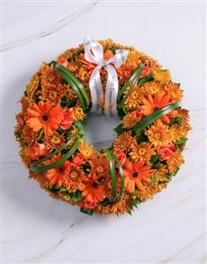flowers: Orange Roses and Gerberas Wreath!