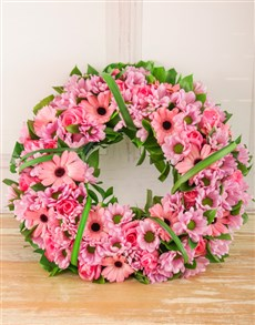 flowers: Pink Sprays, Roses and Gerberas Wreath!