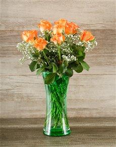 flowers: Orange Rose and Gyp in Green Vase!