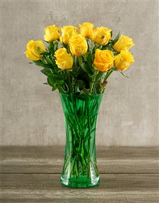 flowers: Yellow Roses in a Green Vase!