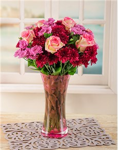 flowers: Pink Sprays and Roses in a Pink Vase!