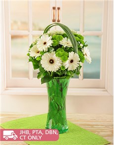 flowers: Gerberas and Sprays in a Green Vase!