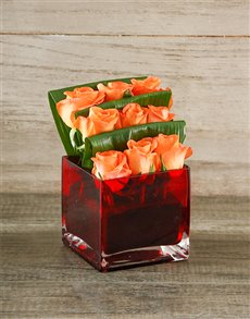 flowers: Orange Roses in a Red Square Vase!