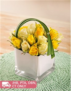 flowers: White and Yellow Roses in a White Square Vase!