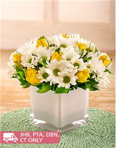 flowers: Yellow Roses and Sprays in White Vase!