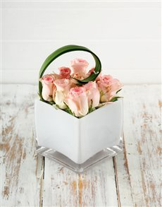 flowers: Petite Pink Roses in Square Glass Vase!