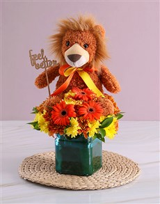 flowers: Orange Gerbera and Sprays in Blue Square Vase!