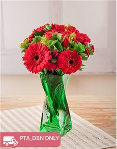 Picture of Red Gerberas and Sprays in a Green Twisty Vase!