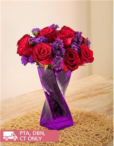 flowers: Red Roses and Purple Statice in Twisty Vase!