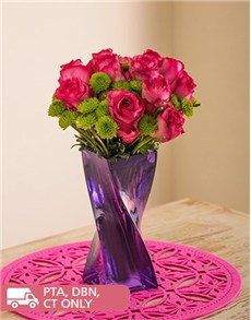 flowers: Pink Roses and Sprays in a Purple Twisty Vase!