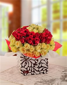 flowers: Cream and Red Roses in a Box!