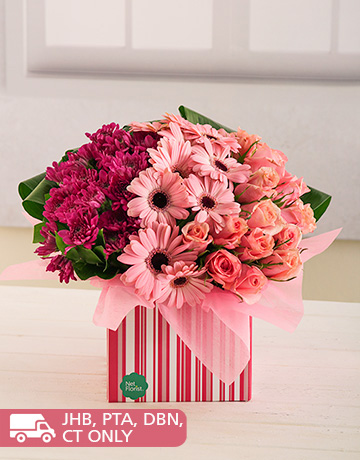 flowers: Pink Gerberas, Roses and Sprays in a Box!