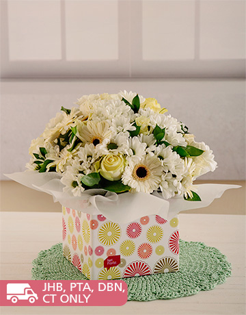 flowers: White Roses, Gerberas and Sprays in a Box!