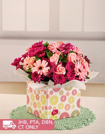 flowers: Pink Gerberas, Roses and Sprays in Box!