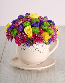 flowers: Roses in Ceramic Cup and Saucer!