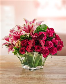 flowers: Edith Venter Pink Passionate Flower Arrangement!