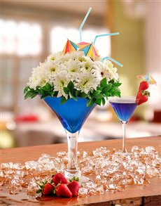 flowers: Blue Cocktail Arrangement!