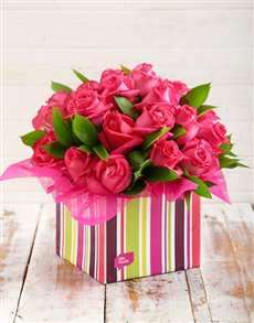 flowers: Pink Roses in Striped Box!