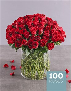 flowers: Radiant 100 Red Rose Arrangement!