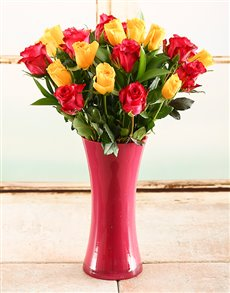 flowers: Yellow & Pink Rose Vase!