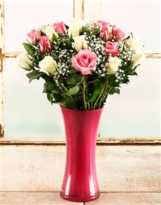 flowers: Pink & White Rose Vase!