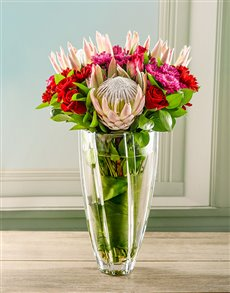 flowers: King Proteas in Diamond Crystal Vase!