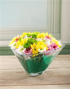 flowers: Opulent Spray Arrangement in Crystal Bowl!