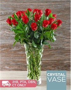 flowers: Love is Red Roses in a Crystal Laurus Vase!