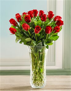 flowers: Red Rose Crystal Vase!